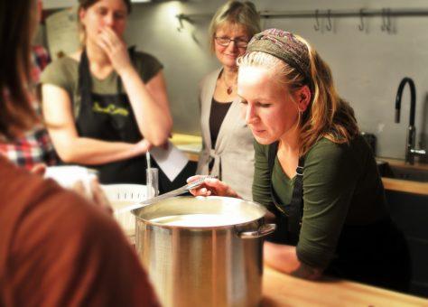 kitchen staff being trained
